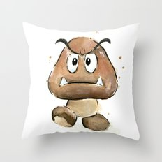 Goomba Watercolor Painting Mario Gamer Videogame Art Throw Pillow