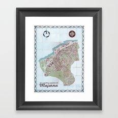 La república popular de Majorna Tile Map Framed Art Print
