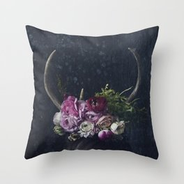 Antlers + Flowers Throw Pillow