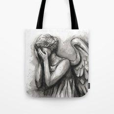 Weeping Angel Watercolor Doctor Who Art Tote Bag