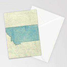 Montana State Map Blue Vintage Stationery Cards