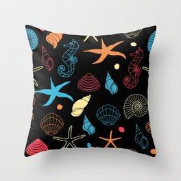 Seahorse Sea Shell Party Throw Pillow