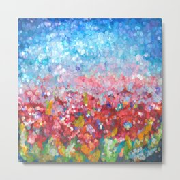 Abstract Garden with Poppies An impressionist Abstract   Metal Print