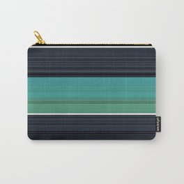 Solid Aqua Teal Black Stripes Carry-All Pouch