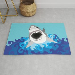 Great White Shark Attack Rug