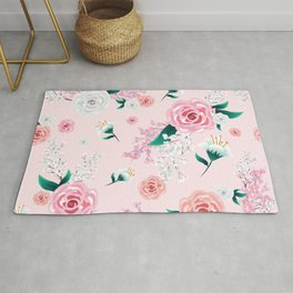 Light Pink Floral Peony and Blossoms Print Rug