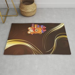 Teddy bear with gift boxes Rug