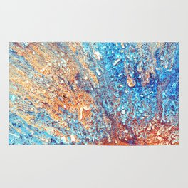 Explosion, copper & blue textured abstract Rug