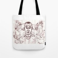 dentist Tote Bags featuring At the Dentist by Jonas Ericson