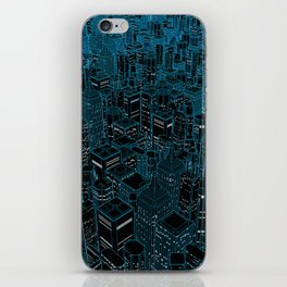 Night light city / Lineart city in blue iPhone Skin