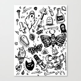 Spooky Flash Sheet - Black Canvas Print