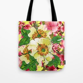 CONTEMPORARY PINK & CREAMY WHITE SPRING FLOWERS Tote Bag
