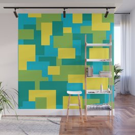 Geometric Art Yellow Blue Green Digitalart Gift Wall Mural