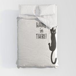 Hang in There! Funny Black Cat Hanging On Comforters