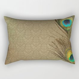 Vintage Peacock Feather Rectangular Pillow