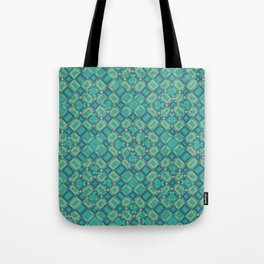 EMERALD cubic green prisms in abstract repeat pattern Tote Bag