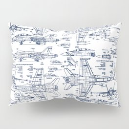 F-18 Blueprints // Blue Ink Pillow Sham