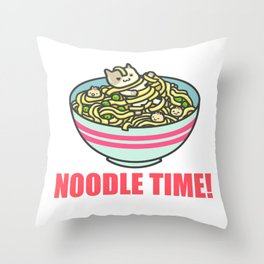 I Love Noodle Kawaii Artwork Throw Pillow