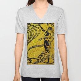 Art Nouveau,golden,black,female art, belle epoque Unisex V-Neck