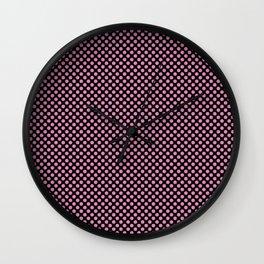 Black and Fuchsia Pink Polka Dots Wall Clock