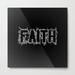 Faith white on black Metal Print