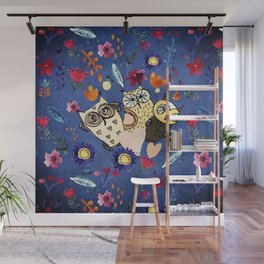 3 Wise Owls in Flower Garden at Night Wall Mural
