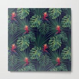 Night tropical flowers pattern Metal Print