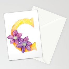 Letter C Floral Lettering Watercolor Stationery Cards