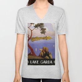 Lake Garda - Italy Vintage Travel Poster 1920 Unisex V-Neck