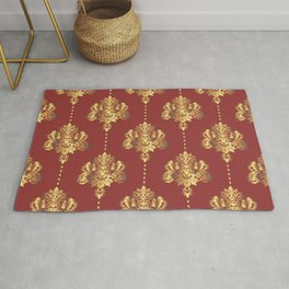 Gold damask flowers and pearls on red background Rug