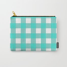 Gingham (Turquoise/White) Carry-All Pouch