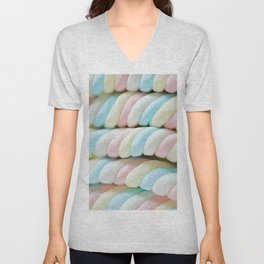 Pastel Rainbow Marshmallow Candy Unisex V-Neck