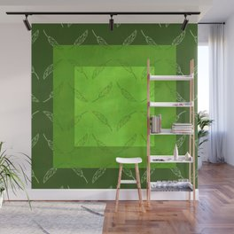 Palm Leaf Zig Zags! in Grass Green Wall Mural