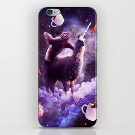 Outer Space Sloth Riding Llama Unicorn - Donut iPhone Skin