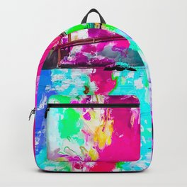 Golden Gate bridge, San Francisco, USA with pink blue green purple painting abstract background Backpack