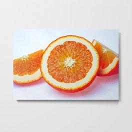 Orange Half And Two Quarters On White Metal Print
