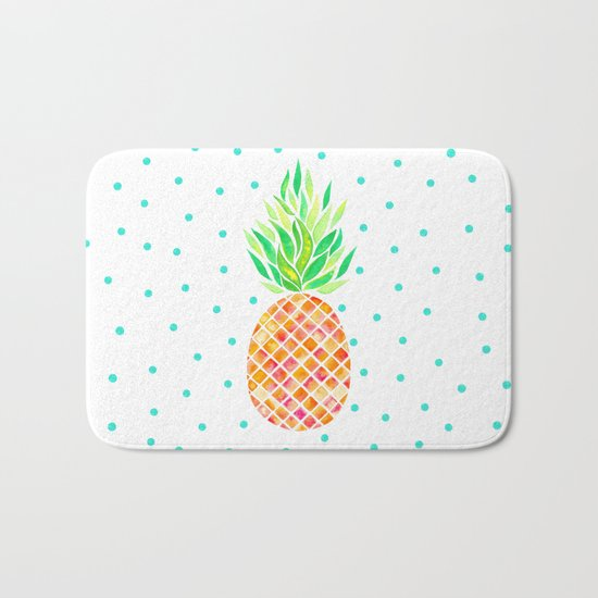 Tangerine Pineapple Bath Mat