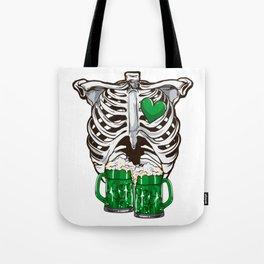 St Patrick's Day Skeleton Love Green Beer Tote Bag
