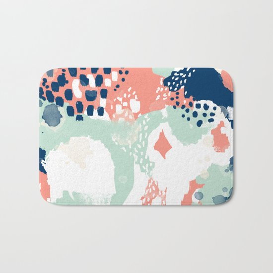 Kayl - abstract painting minimal coral mint navy color palette boho hipster decor nursery Bath Mat