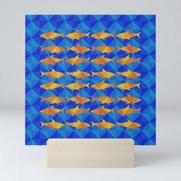 Orange Sharks On Blue Square. Mini Art Print