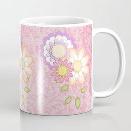 Colorful Spring Posy Pink Damask Style Brocade Coffee Mug