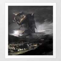 kaiju Art Prints featuring El Kaiju by SkullsNThings