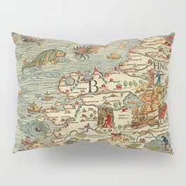 Medieval Map Scandinavia 1539 Pillow Sham