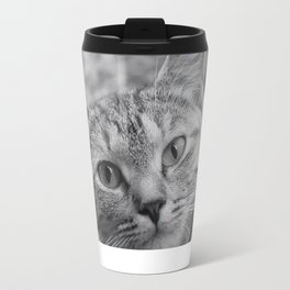 Black and White Cat Face Travel Mug