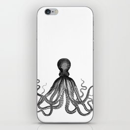 Antique Nautical Steampunk Octopus Vintage Victorian Kraken sea monster emo goth drawing iPhone Skin