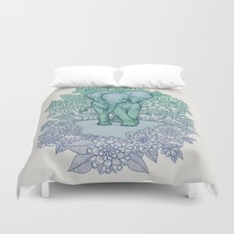 Emerald Elephant in the Lilac Evening Duvet Cover