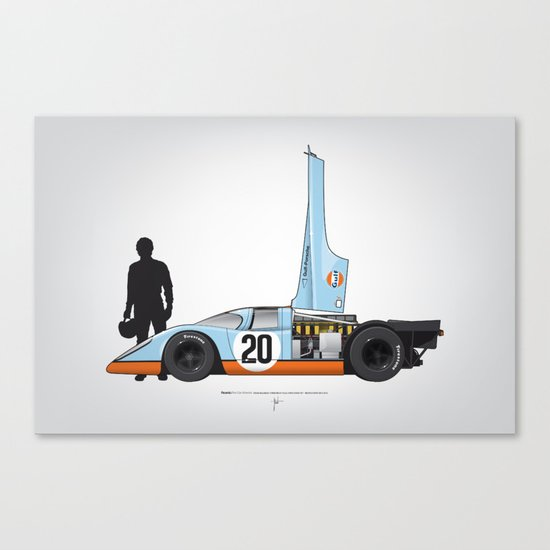 Outline Series N.º4, Steve McQueen, Porsche 917, Le Mans movie 1971 Canvas Print