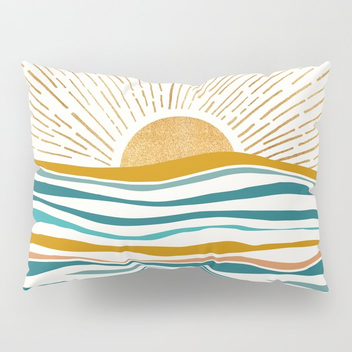The Sun and The Sea - Gold and Teal Pillow Sham