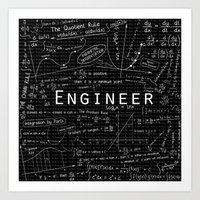 engineer Art Prints featuring BLACK - ENGINEER by Be Raza