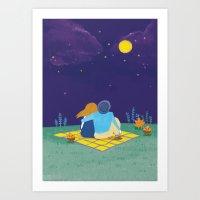 an autumn night Art Print
